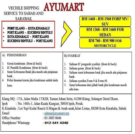 Harga Pos Penghantaran Motor dan Kereta ke Sabah dan Sarawak